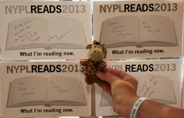 Me at the NYPL after meeting Winnie-the-Pooh (I love what New Yorkers are reading!)