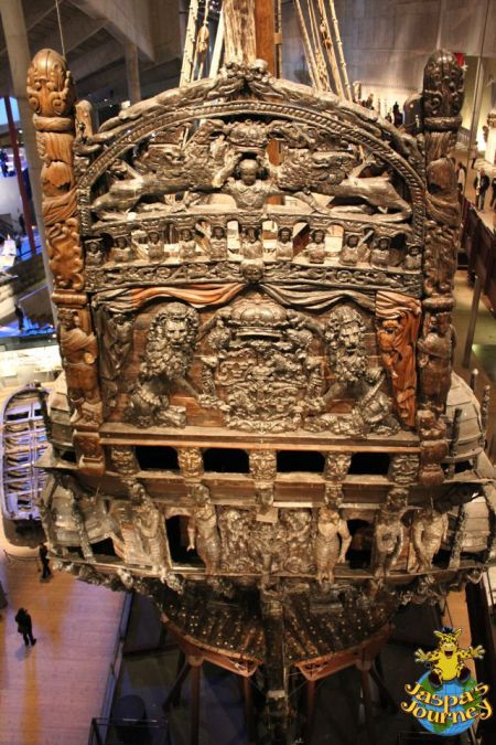 The massive carved stern of the ship