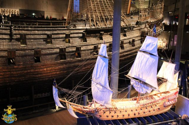 A model of what the Vasa would have looked like as she set sail in 1628