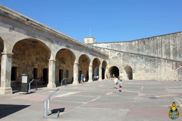 San Cristóbal's main courtyard, awash with ramps, doors and tunnel entrances